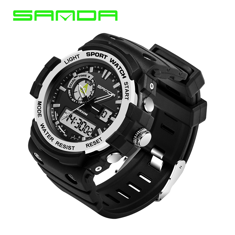 SANDA Men Sports Watches Fashion Casual Mens Watchs Digital LED Analog Alarm Waterproof Military Man Wristwatches Montre Homme<br><br>Aliexpress