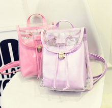 Fashion Women Backpack 2017 PU Leather Women Backpack Girl High Quality candy color transparent shoulder cute mini school bag(China)