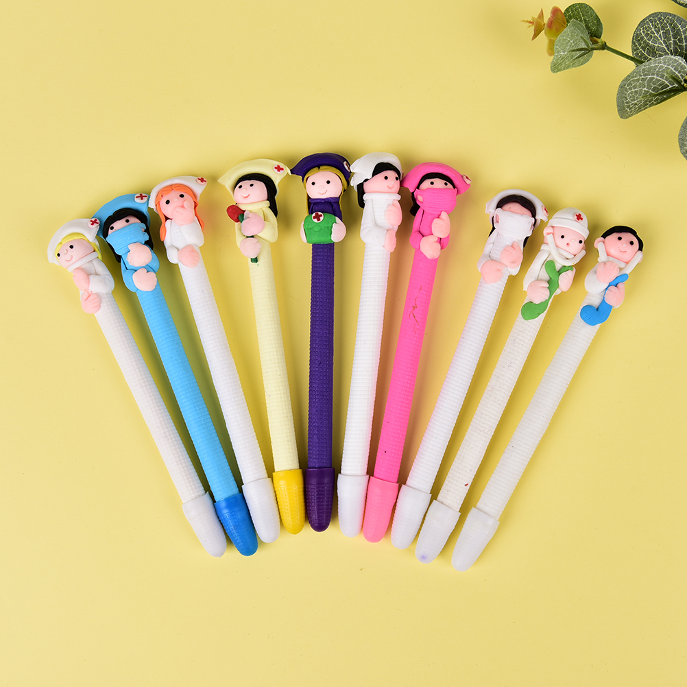 5PCS 0.5mm Refill Black Soft Ballpoint Pen Creative Nurses And Doctors Modeling Students Stationery Gift