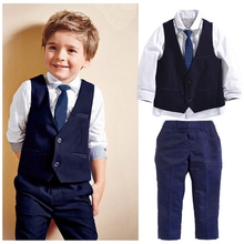 2017 New Baby Kids Boys Tuxedo Suit Gentleman Suit long sleeve Shirt + Waistcoat Tie Pants Formal Outfits Clothes Wear 1-7 years