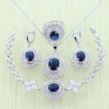 925 Logo Sunflower Blue Rhinestone White Zircon Jewelry Set For Women Silver color Bracelets/Earrings/Ring/Necklace/Pendant