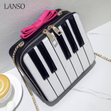 Styling Piano Shape Fresh Clutch Pink Bows Chain Shoulder Bag Sweet Girl's Hit Color Mini Flap Rock Vintage Keyboard Patterns(China)