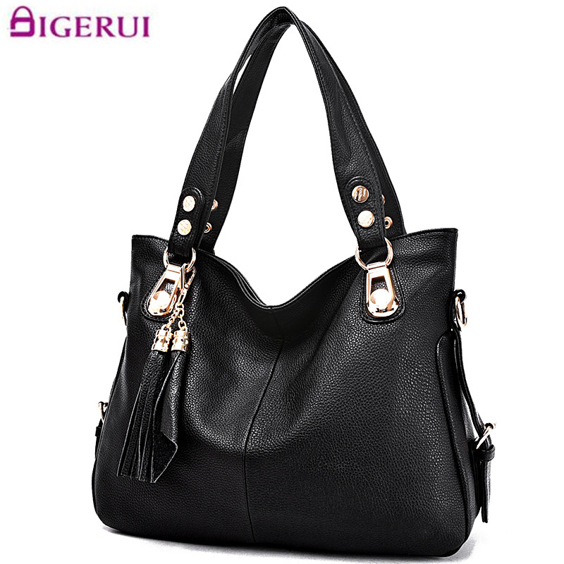 New Fashion Tassel Women Leather Tote Bags Luxury Handbags Women Bags Designer Crossbody Bag Sac a Main Black Large Handbag 2017<br>