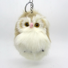 15CM Cute Fluffy Owl Keychain Pendant Women Key Ring Holder Faux Fur Pompoms Key Chains For Handbag Plush Keyring 15x8cm(China)
