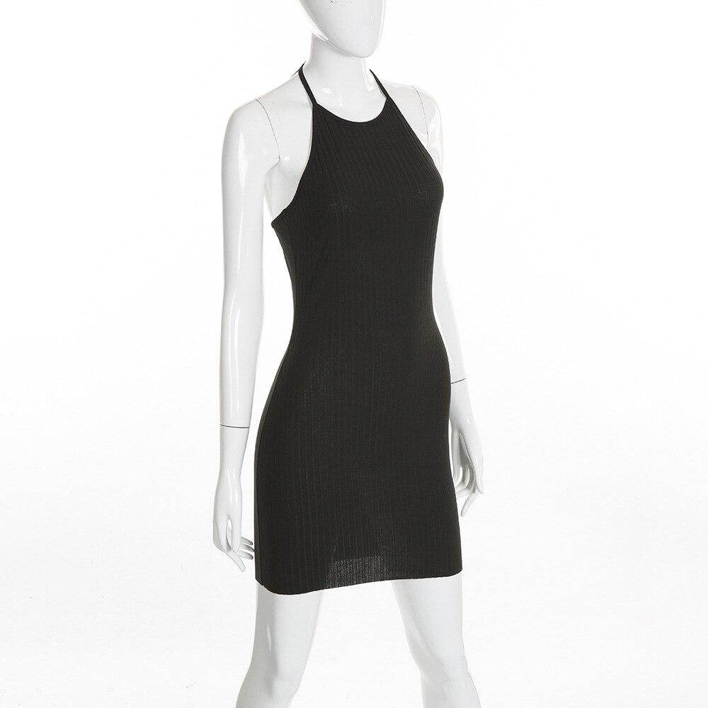 Women Sexy Club Backless Spaghetti Strap Summer Dress 2018 Cotton Ladies Elastic Bodycon Black Yellow Party Mini Dresses Vestido 9