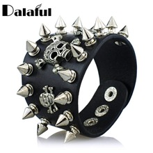 Unique Rock Spikes Rivet Gothic Skeleton Skull Punk Biker Wide Cuff Leather Bracelet S059(China)