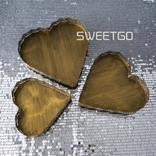 European Restore Ancient Ways Golden Cake Disc A Heart-shaped A Snack Dish Wedding Prop  Candy Plate Plate