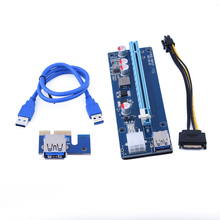 60cm USB 3.0 Data Cable 1x to 16x PCi-E USB Riser With Sata To 6pin power cable for bitcoin mining