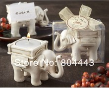Free shipping 8PCS/LOT Wedding Favor--Lucky Elephant Antique Ivory-Finish candle Holder by CPAM