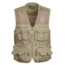 SHOWERSMILE Brand Mens Gilet Photographer Vest Mesh Pockets Khaki Colete Big Size Shooting Reporter Travel Summer Chaleco