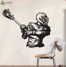 Lacrosse Wall Stickers For Kids Rooms Boys Bedroom Wall Decal Sports Art Gift Mural Playroom Modern Home Decor DIY Party SY164(China)