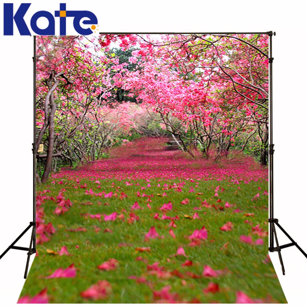 Valentine Backdrops Lawn Covered With Pink Petals Kate Studio Background Tree Full Of Flowers Backdrops<br>