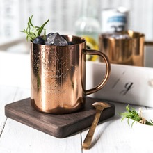 1 pcs 400ml Vintage Double-Laye Copper Mug Moscow Mule Durable Coppery Beer Mugs Coffee Mug Milk Cup Pure Copper Cup Drinkware