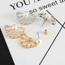 Trendy Artificial pearl Silver Gold Color Alloy Lotus Flower Stud Earrings For Women Ear Jewelry Gift