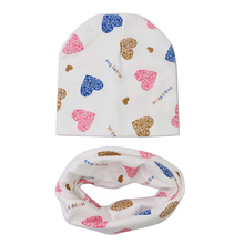 Cotton Baby Hat Scarf Set Love Heart Print Winter Spring Children Caps Scarves Boys Girls Knit Beanies Baby Accessories(China)