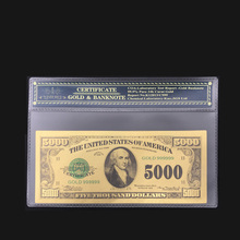 High Quality For America 24k Gold Banknotes 5000 Dollar Banknotes in 24k Gold Fake Paper Money With Plastic Frame For Collection(China)