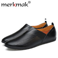 Merkmak New 2018 Men Casual Shoes Genuine Leather Summer Breathable Holes Luxury Brand Flats Shoes Men Drop Shipping