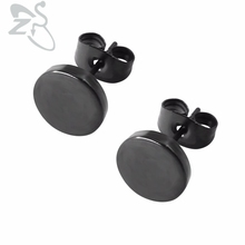 1 Pair Stainless Steel Ear Studs Earrings Black Plated Round Shaped with Butterfly Clasp Push Back Earrings Women Men Earrings