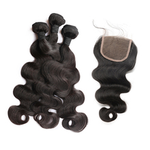 Brazilian Virgin Hair With Closure Body Wave 3 Human Hair Bundles 4Pcs Natural Color Honey Queen Hair Products(China)