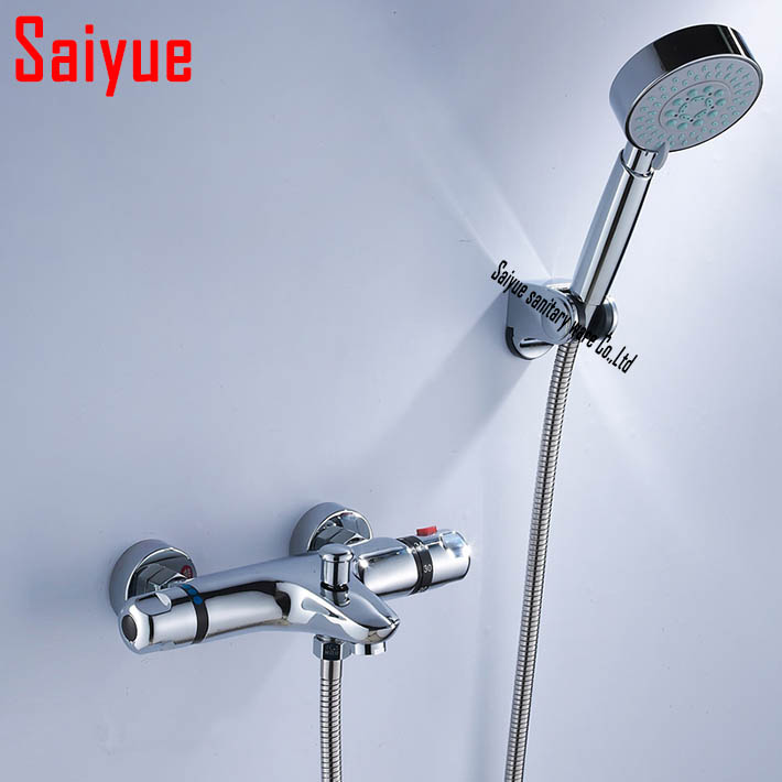 Wall Mounted Two Handle auto Thermostatic control Shower mixer Thermostatic faucet Shower Taps Chrome Finish with hand shower<br><br>Aliexpress