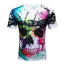 High quality 2017 Newest Fashion Harajuku Men/Women T-shirt 3d Print The skull ip Hop Brand T Shirt Summer Tops Tees(China)