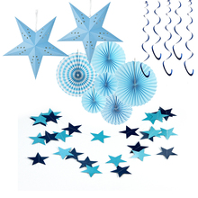 10pcs/set Blue Theme Tissue Paper Decoration Kit Tissue Paper Fan Blue Star Banner, Spiral, Birthday Baby Showers Party  Favor