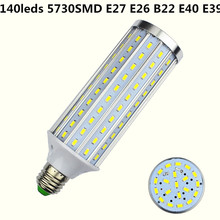 New E27 LED 140LEDS 5730 SMD 35W Aluminum Corn Light B22 Lamp E26 Bulb AC 85-265V Bombillas E40 LED ampoule Factory lighting E39