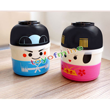 Japanese Cartoon Doll Plastic 2 Layer Food Container Cute Bento Box Lunch Pail for Kids Creative Couple Boxes(China)
