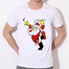 Santa Sleigh Brand clothing men 's T-shirt Christmas Gift Novelty Tshirt Short Sleeve O Neck Big Boy T-shirt Tee 46-36#(China)