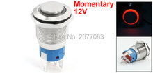 12V Red LED Lamp 5 Pins 1NO 1NC Momentary 19mm Stainless Steel Pushbutton Switch