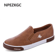 NPEZKGC New arrival Low price Mens Breathable High Quality Casual Shoes PU Leather Casual Shoes Slip On men Fashion Flats Loafer(China)