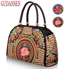 GUDANSEN Pure Handmade Hard Case embroidery ethnic bags women handbag flower bag over shoulder Lady shopping bags embroidered