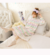 Fresh Floral Autumn/ Winter Adult Women Girl Soft Flannel Nightgown Prints Pockets Long Sleeve Sweet Mid-Calf Sleepwear(China)