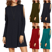 Fashion Female Summer Style Loose Long Sleeves Dress Women Hollow Out Sexy Dress Mini Tube Dresses Red/Black/SkyBlue/ArmyGreen(China)