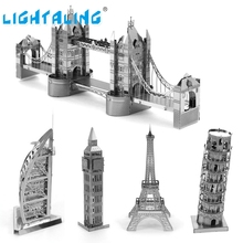 Lightaling 3D Metal Puzzle Eiffel Tower Famous Building Model And DIY Animal Puzzle For Kids Birthday And Christmas Gift(China)