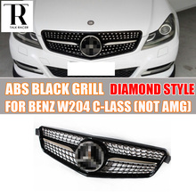 W204 BLACK ABS Diamond Style Front Bumper Grill Grille for Mercedes Benz W204 C-CLASS C180 C200 C220 C260 C300 not fit AMG