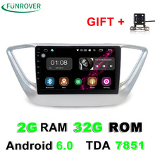 Funrover 2G+32G 2 din android car dvd for the new hyundai verna solaris accent 2016 2017 car radio multimedia player gps RDS BT(China)