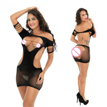 Female Women Erotic Porn Sexy Lingerie Sex Products Seamless Crotch Mini Dress Body Stocking Nightwear Nightdress Costumes