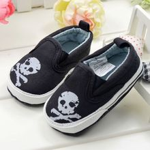 New Fashion Newborn Baby Handsome Boys Kids First Walkers Shoes Infant Toddler Skull Head Classic Canvas Loafer Soft Soled Shoes(China)