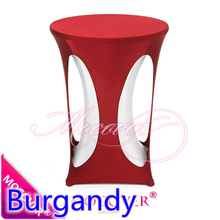 Burgandy colour lycra high bar table cloth spandex tablecloth top cover for wedding,banquet and party cocktail table decoration