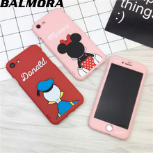 BALMORA Luxury 360 Full Protector Case Cover For iPhone 6 6S plus Soft Silicone Case For iPhone 7 7plus Disney Mickey Duck Case