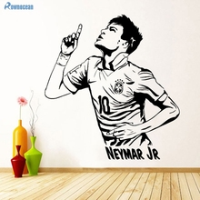 Neymar Famous football player Art Wall Stickers Home Decoration Mural Room Art Decal Brand Vinyl Removable D536(China)