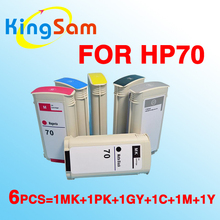 6x For hp70 ink cartridge for hp 70 Designjet Z2100 Z3100 Z3200 Z5200 Matteblack, Photoblack, Light Gray, Cyan, Magenta, Yellow(China)
