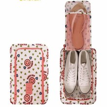 Portable Travel Wash Shoes Pouch Polyester Smiley Heart Flower Printing Shoe Storage Bags Handbag Zip Closure Waterproof Bag