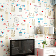 New British children's room non-woven wallpaper cartoon castle wall paper Mediterranean alphabet Ferris wheel female boy bedroom(China)