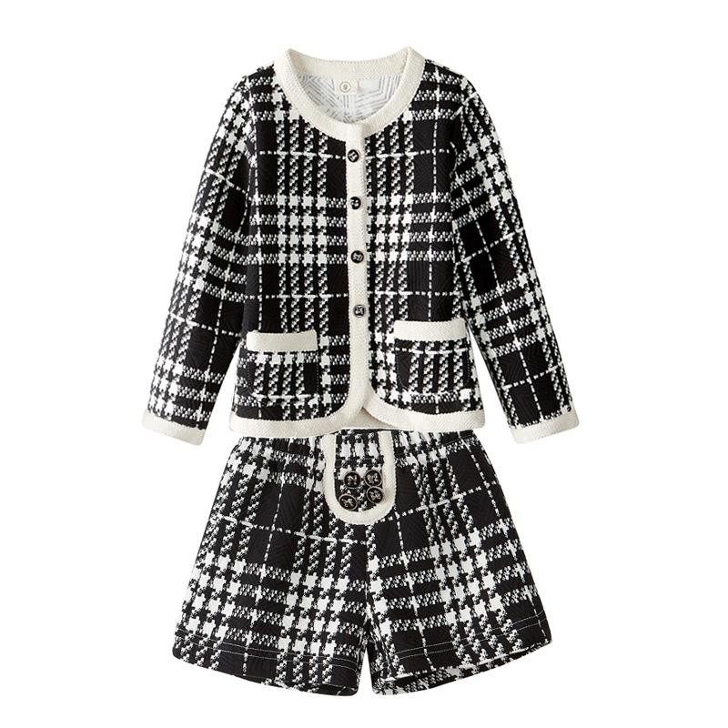 2018 Brand Kids Girls Tracksuits Lattice Pattern Girls Clothes Cotton Plus Velvet Thick Warm 2pcs Suit Children Clothing Sets<br>