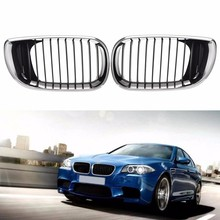 1 Pair Left & Right Front Hood Grille Grill Chrome Black 4DR For BMW E46 3-Series 2002 2003 2004 2005