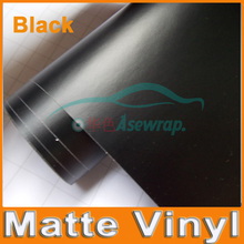 High quality retails size 0.1m/lot Matte Vinyl car Wraps vinyl film Matt Black Foil Car sticker Vehicle Sticker with air release(China)