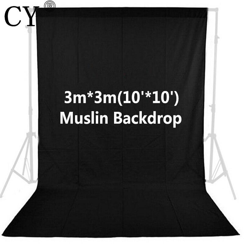Photo Studio Vedio Photography 10ft x 10ft/3m x 3m Black Photo Studio Solid 100% Cotton Muslin Backdrop Background PSB1A<br>