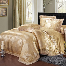Royal Palace Luxury 4Pcs Tencel Silk Cotton Jacquard Euro Style Full/Queen/King Size Bed Quilt/Doona/Duvet Cover Set Lace Gold